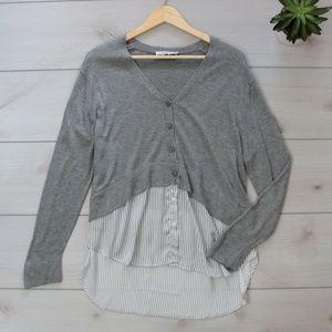 Zara Knit Grey Striped Layered Cardigan Sweater S